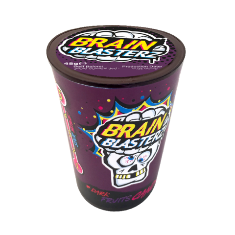 Dark Fruit Mega Sour Hard Drum Brain Blasterz - Candy Sweets Bon Bon Buddies 48g
